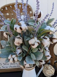 Lavender Crafts, Lavender Wreath, Farmhouse Table Centerpieces, Mason Jar Centerpieces, Tobacco Basket Decor, Dog Wreath, Cotton Decor, Cotton Wreath, Lambs Ear