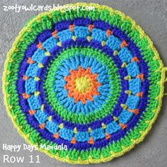 Zooty Owl's Crafty Blog: Happy Days CAL (8): Happy Days Mandala Square