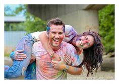 Holi powder paint engagement shoot! So much fun! :)