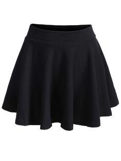 falda plisada cintura elástica-negro
