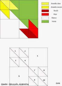 De todo un poco con mis manos: N° 641: Camino de Mesa Hunter´s Star Variation - Parte 6 Half Square Triangle Quilts Pattern, Pinwheel Quilt Pattern, Star Quilt Patterns, Star Quilts, Scrappy Quilts, Easy Quilts, 9 Patch Quilt, Quilt Blocks, Hunters Star Quilt
