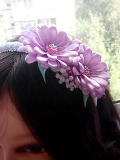 Kanzashi flower/Kanzashi hard headband/Fabric flower