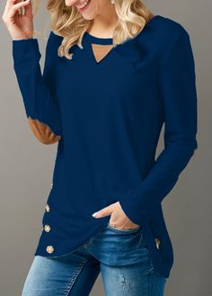 348ff9ca9332 Long Sleeve Button Embellished Elbow Patch T Shirt on sale only US 29.69  now