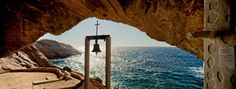 Panoramic shot taken in small chapel built in cave, in Western Syros, Cyclades. Church Architecture, Religious Architecture, Greece, Places To Go, Mystery, Worship, Landscape, Building, Pictures