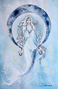 Moon Mermaid Watercolor Original Painting by Ambrosiart on Etsy