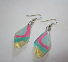 Curved Diamond /// Resin Earrings /// in by catsfromthefuture, $25.00