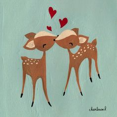 Painting of two deer kissing with hearts in the background