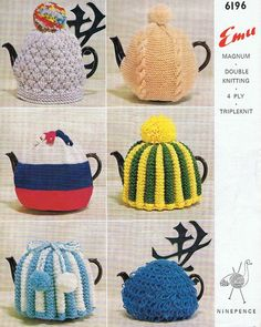 This tea cozy pattern if exceptionally efficient in keeping the teapot warm.  I have made one or two that are like the green and yellow one.