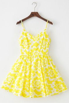 Yellow Floral Strap Cute Retro Sundress