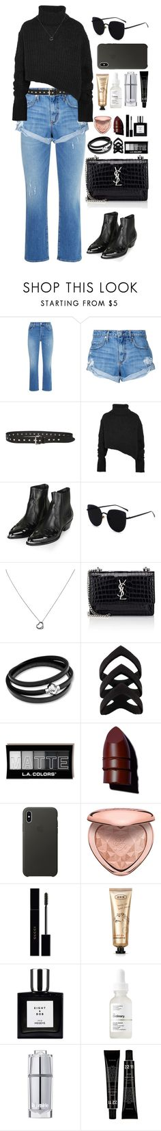 """""""Cool Like the Weather"""" by krys-imvu ❤ liked on Polyvore featuring 7 For All Mankind, Nobody Denim, P.A.R.O.S.H., Ann Demeulemeester, Topshop, Tiffany & Co., Yves Saint Laurent, Anastasia Beverly Hills, Apple and Too Faced Cosmetics"""