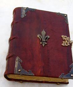 handmade Bookbinding leather journal medieval diary fleur de lis guest book larp…
