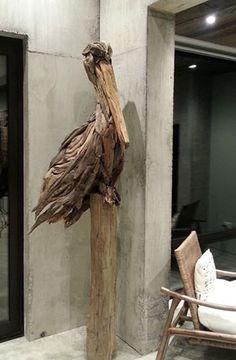 Pelican driftwood sculpture