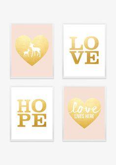 Blush Pink and Gold Baby Nursery Print  Nursery Art