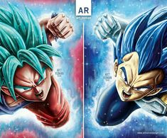 Goku and Vegeta working as a team! Vegeta Ssj Blue, Goku Y Vegeta, Dragon Ball Z, Big Dragon, Beyond Blue, Z Arts, Anime Artwork, Animes Wallpapers, A Team