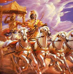 Shri Krishna and Arjuna in Mahabharata - Hindu Gods and Goddesses - Photos on Prabhu Bhakti