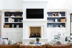 studio mcgee living room inspiration Fireplace Built Ins, Brick Fireplace, Fireplace Design, Fireplace Ideas, Herringbone Fireplace, White Fireplace Mantels, Small Fireplace, Living Room Tv, Living Room With Fireplace