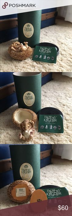 """Harmony Kingdom Hedgehog box Harmony Kingdom Hedgehog """"Sunny Side Up"""" collectible trinket box. Early edition carving by Peter Calvesbert, release 1991, retired 2001. Crafted in England. Dimensions (Inches): 3.62 x 2.83 x 2.17. Original box and certificate included. harmony kingdom Other"""