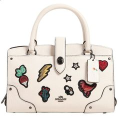 Coach Ny Women Small Mercer Embroidered Leather Bag (2 645 PLN) ❤ liked on Polyvore featuring bags, handbags, white, leather handbags, white purse, coach handbags, embroidered handbags and embroidered purse