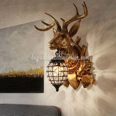 Deer Head Antler Wall L&s Crystal Hanging Lights Faux Stag Taxidermy Mount Decor 18  Bronze & Deer Head Antler Wall Sconces Crystal Hanging Light Lamps Faux Wood ...