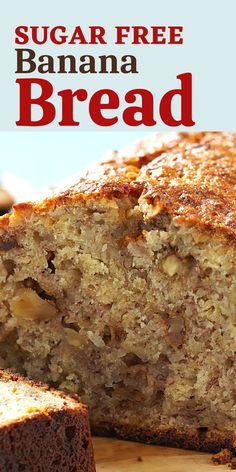 Recipe For Sugar Free Banana Bread, Diabetic Banana Bread, Low Sugar Banana Bread, Sugar Free Bread, Homemade Banana Bread, Sugar Free Baking, Banana Bread Recipes, Diabetic Muffins, Vegetarian
