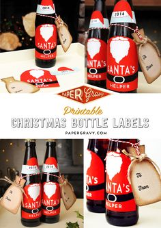 Free Christmas Printable Santa Bottle Labels & Gift Tags