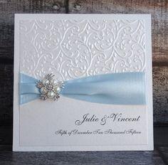Hecho a mano gama lujo azul boda invitan invitación CHLOE realzado con cinta de colores