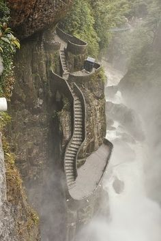 """Pailón del Diablo (meaning """"Cauldron of the Devil"""" in English) Ecuador, located on the Pastaza River, one of the most popular attractions in the area."""