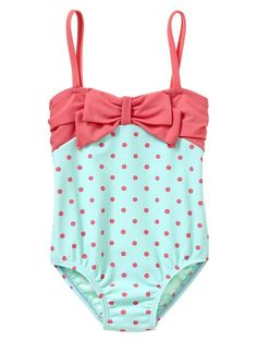 Baby Gap Dot Bow One-piece in Blue/Pink Polka Dot....hate it when people put the little girls in two pieces!!!!