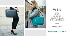 Click to enter for a chance to win the entire work bag collection from UK brand; Jennifer Hamley. (3 pieces RRP £780 / $1000)  Award winning designs that keep you organised, stylish and full of confidence at work.