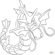 Gyarados Coloring Pages Pokemon Coloring Pages, Cool Coloring Pages, Free Printable Coloring Pages, Coloring Books, Gyrados Pokemon, Pokemon Gyarados, Pokemon Party, Pokemon Birthday, Pokemon Sketch