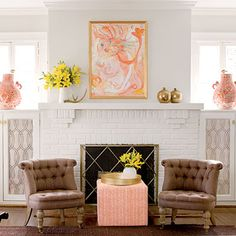 Focal Point Fireplace - 25 Cozy Ideas for Fireplace Mantels - Southern Living Paint Fireplace, Fireplace Mantels, White Fireplace, Fireplace Design, Paint Brick, Fireplace Brick, Fireplace Ideas, Fireplace Seating, Fireplace Cover