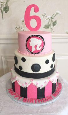 Barbie themed birthday cake