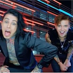 Ronnie Radke and Andy Biersack<----Can't help but laugh at the faces