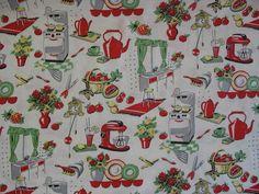 Michael Miller - Fifties Kitchen- Retro Kitchen Appliances on Cream- Novelty Fabric-Choose Your Cut or Full Yard Novelty Fabric, Retro Fabric, Vintage Fabrics, Vintage Prints, Motif Vintage, Retro Vintage, Vintage Ideas, Vintage Food, Vintage Dishes