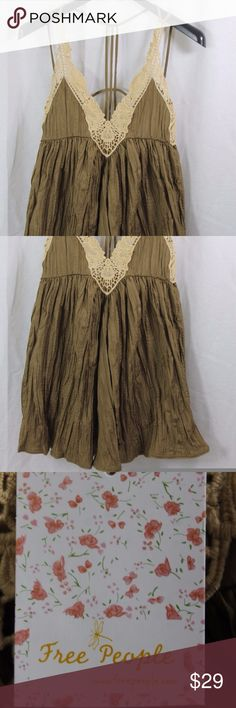 """WOMENS FREE PEOPLE BROWN SPAGHETTI STRAP DRESS S Measurements (we actually measured these)  ARMPIT/ARMPIT:              17.5""""  LENGTH:    33""""   Style:POLYESTER DRESS. Condition:                                                    BRAND NEW WITH TAGS. SOURCED DIRECTLY FROM AN UPSCALE US RETAILER.  18-151-N7 Free People Dresses"""