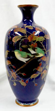 Meiji Period Japanese Cloisonne Bird on Branch Vase Very Fine Realism | eBay