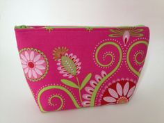 Bridesmaid thank you gift  Cosmetic Bag Make Up case in hot pink and lime green  by thesocialseam