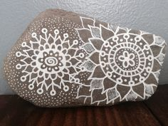 Hand painted rock // Mandala // Tribal // Rustic by MyPaintedEarth..very pretty!