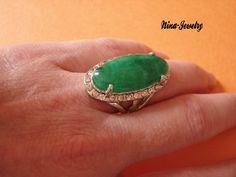 Bague   argent avec pierre verte