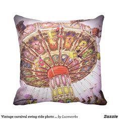 Vintage retro carnival swing ride & pink sky photo throw pillow