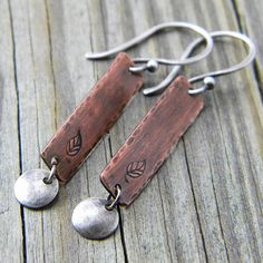 Copper Rectangles & Sterling Silver Disc Earrings by DreamBelle Designs, via Flickr