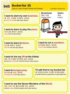 Easy to Learn Korean 945 - Bucket List (Part Two). Chad Meyer and Moon-Jung Kim EasytoLearnKorean.com An Illustrated Guide to Korean