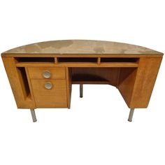 Gilbert Rohde Demilune Desk for Herman Miller American Art Deco | From a unique collection of antique and modern desks and writing tables at https://www.1stdibs.com/furniture/tables/desks-writing-tables/