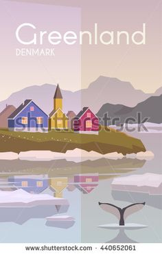 Vector retro poster. Greenlandic village. Port city. Spring in the Arctic. Seaport. Flat design.