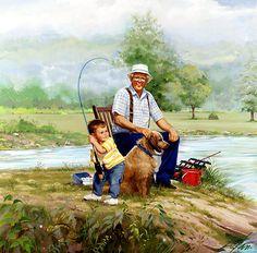 Donald Zolan, artist - Title? Boy fishing with Grandpa