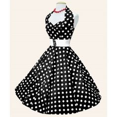 Vestido Pin Up Halter Lunares Negro