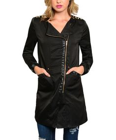 Look at this #zulilyfind! Black Side-Zip Long-Sleeve Coat by The Wholesale Fashion Square #zulilyfinds