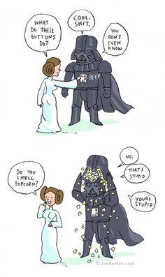 Leia and Darth Vader - Jim Benton Star Wars Fan Art, Star Trek, Star Wars Jokes, Star Wars Comics, Star Wars Personajes, Humor Grafico, Clone Wars, Nerdy, Funny Pictures
