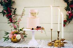 Austin Botanical Inspired Shoot from Amber Snow Photography and Bird Dog Wedding. Pastel Cakes, Pink Cakes, Ribbon Chandelier, Snow Photography, The Best Is Yet To Come, Dog Wedding, Second Weddings, Botanical Wedding, Cake Table