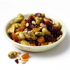Superfood Trail Mix: Combine 1 tablespoon each dried cherries, golden raisins, sunflower seeds, and roasted soy nuts with 1 teaspoon mini chocolate chips in a ziplock bag; mix. (150 calories)